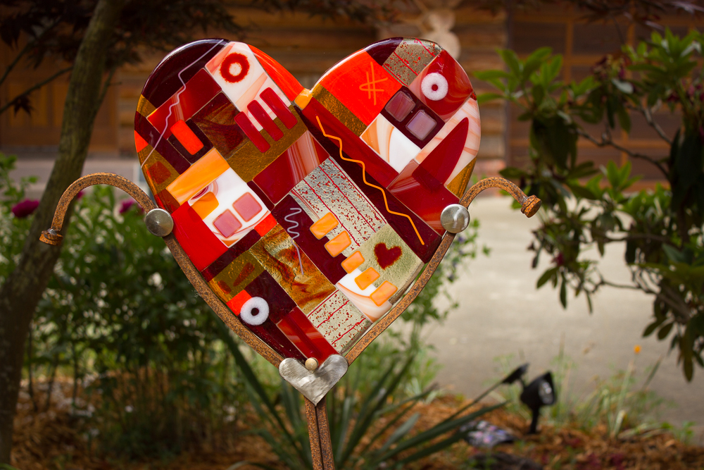 garden art heart fused glass