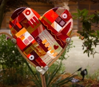 garden art heart fused glass