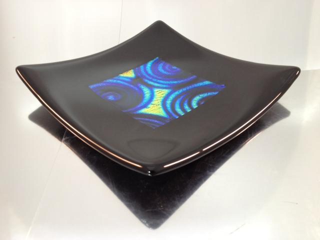 """black frame, dichroic glass - blue, 8"""" x 8"""""""