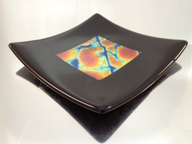 "black frame, dichroic glass - red, 8"" x 8"""