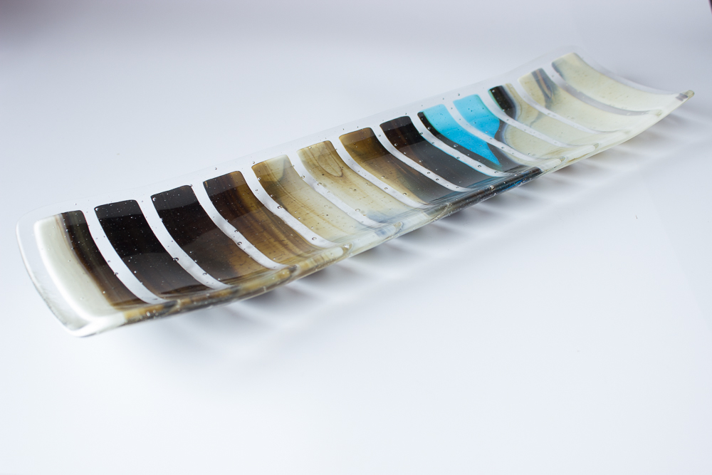 fused glass long plate 1