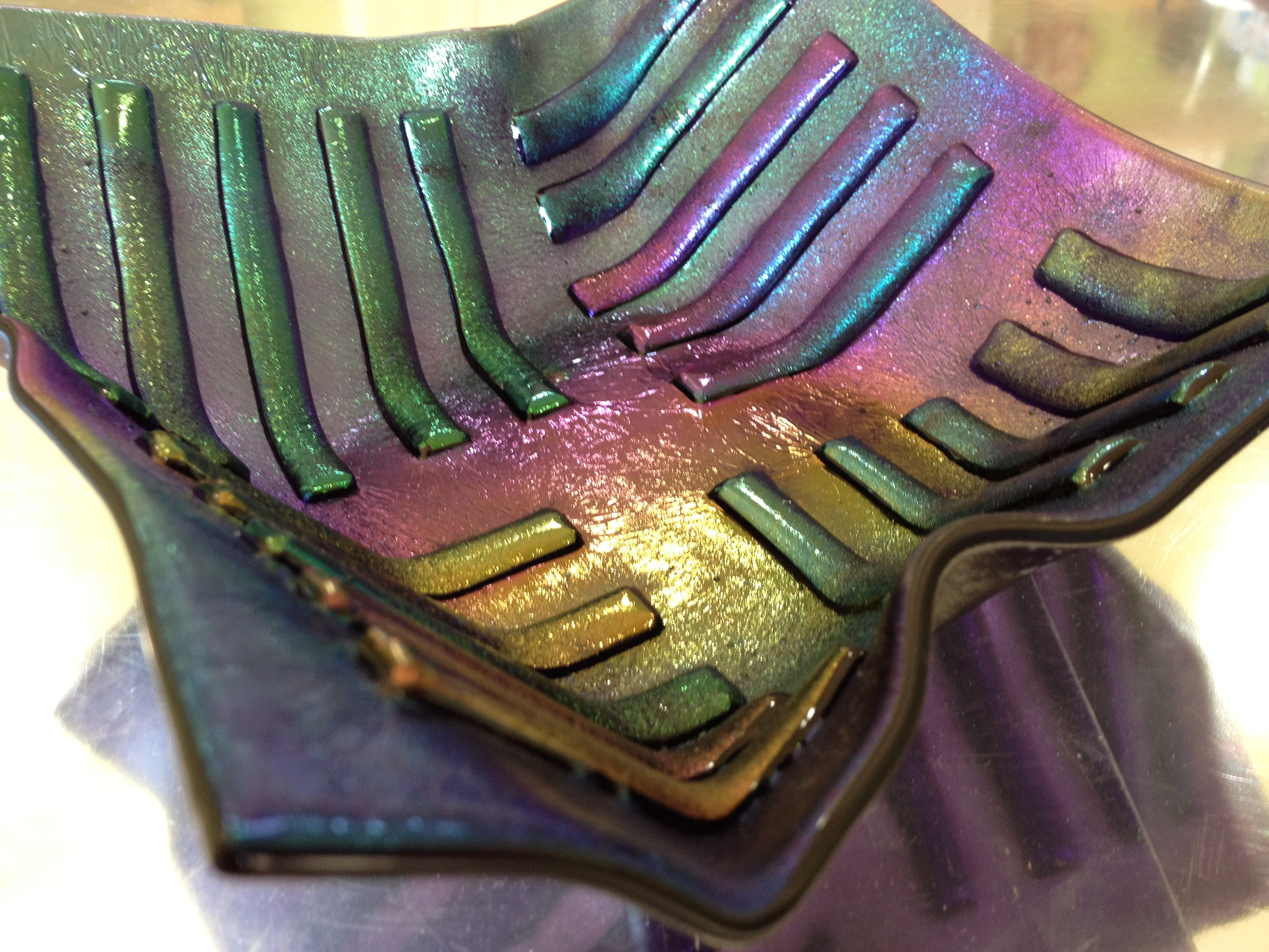 fused glass iridescent bowl