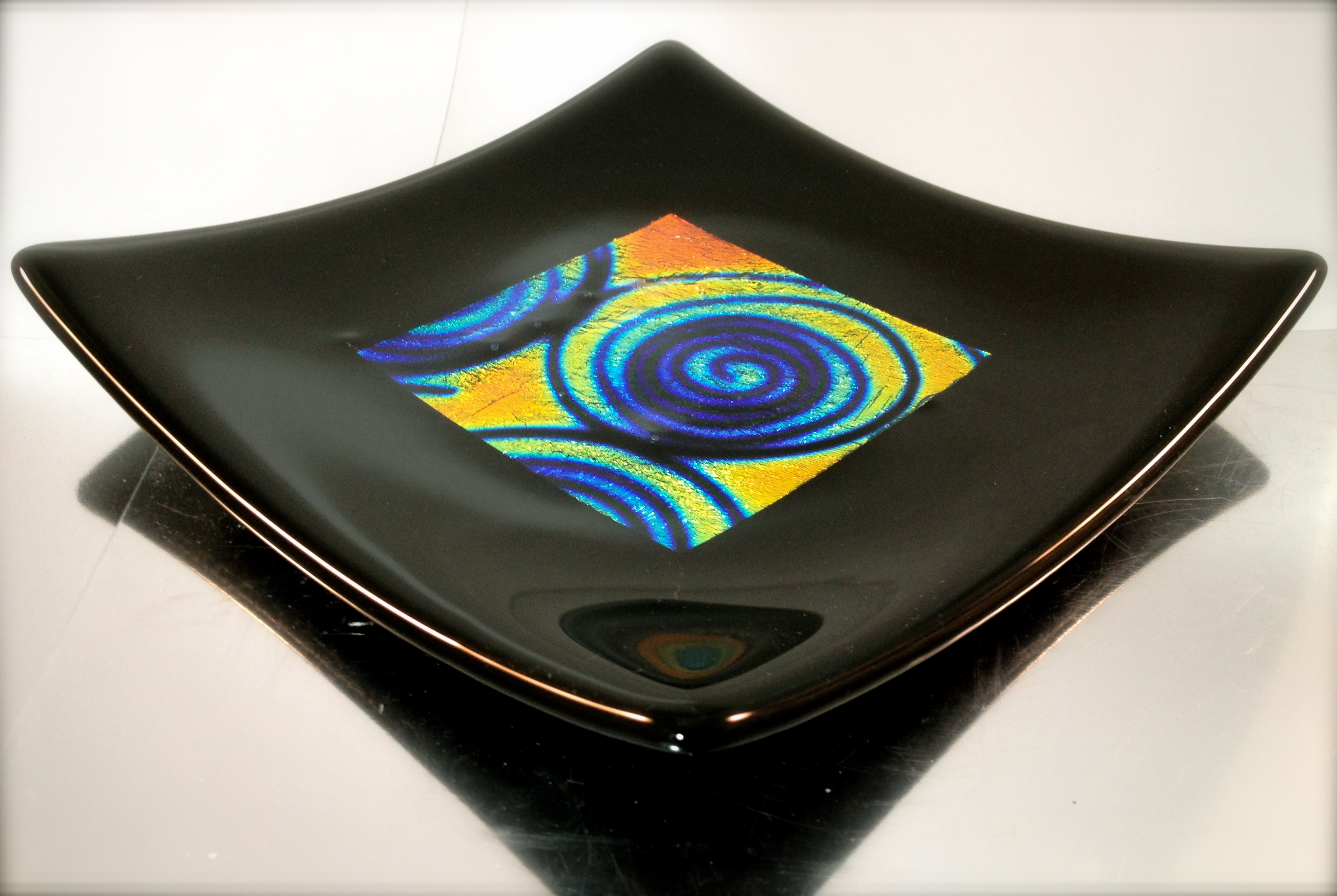 fused glass/dichroic glass plate