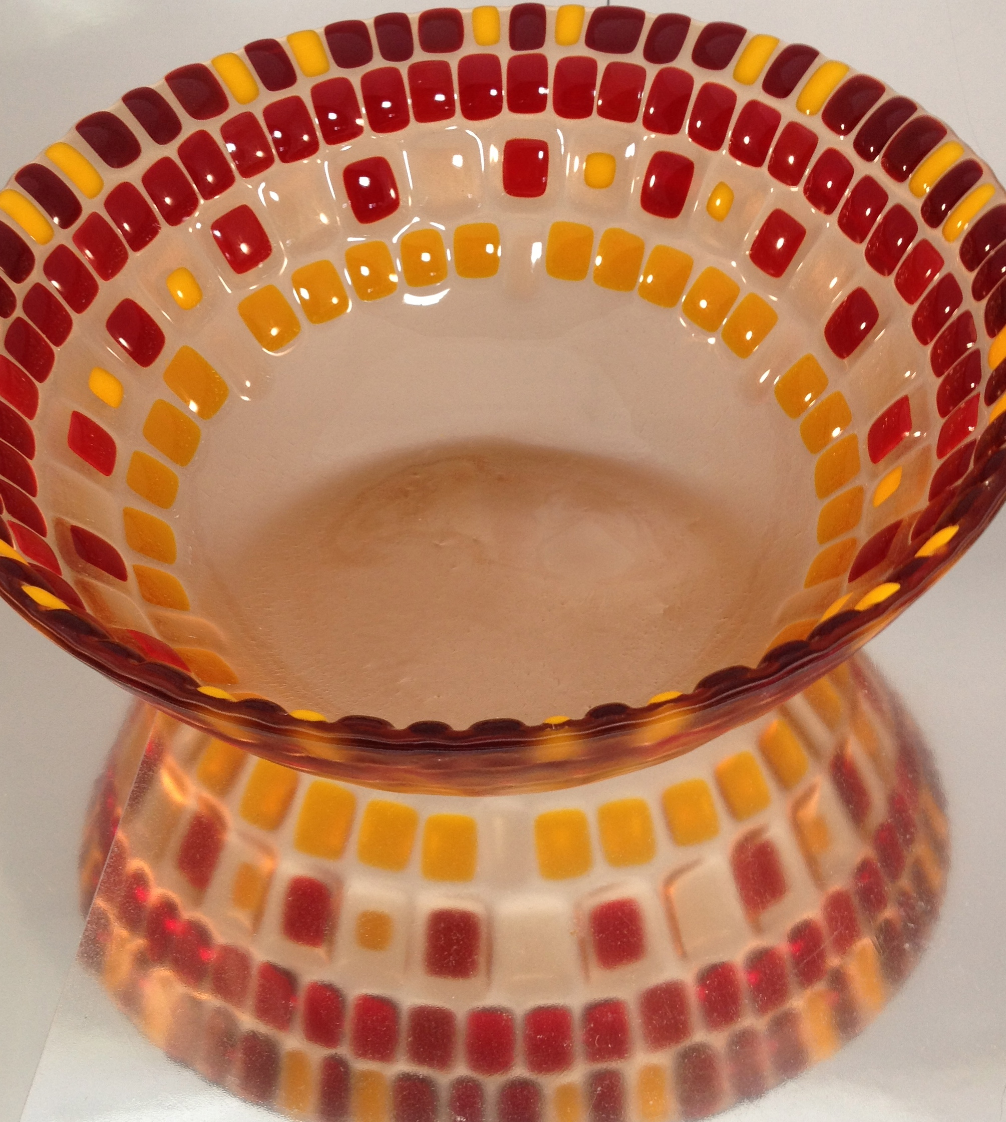 deep bowl, fused glass