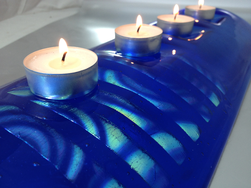 dichroic glass, candle holder