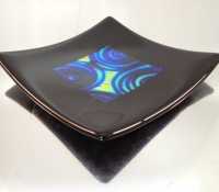 "black frame, dichroic glass - blue, 8"" x 8"""