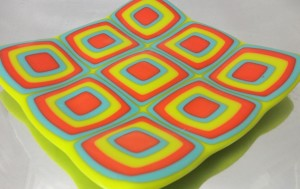 "glass fusing classes, 6"" x 6"" fused glass plate"