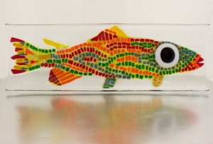 "XL - Salmon Plate - Fireworx Glass Studio Fused glass plate, 7"" x 19.5"""